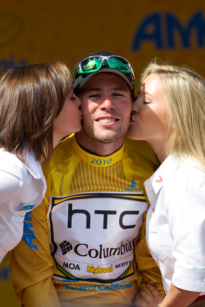 Cavendish seems to enjoy the spoils of his victory, the leader's yellow jersey...