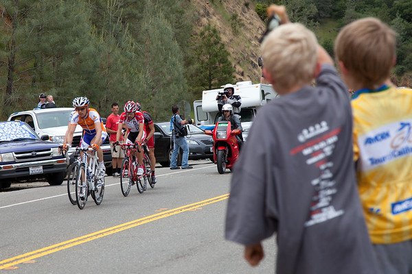 ...and cheer with enthusiasm as the breakaway begins their climb.