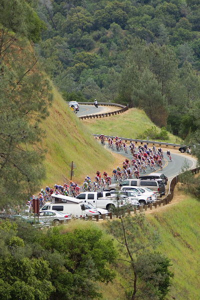 The peloton snakes down Old Auburn Foresthill Road, keeping the break to under five minutes.