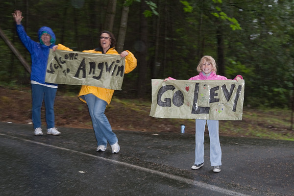 Quite a few fans were out braving the conditions to cheer on the racers...