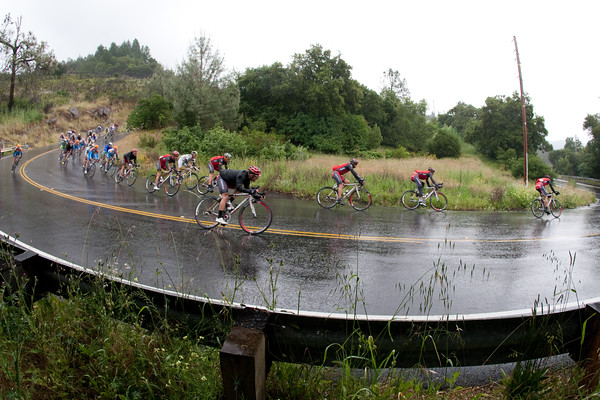 Seven Radio Shack riders lead the pursuit during the descent of Howell Mountain.
