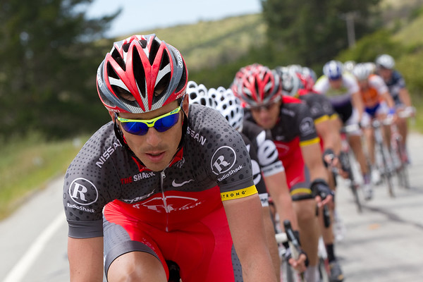 Muravyev takes a long turn at the front w/ some Cervelo riders working hard as well.