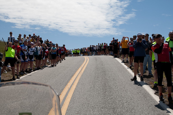 The crowds at the top are thick and vocal - just as they've been all race.