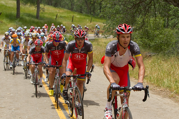 Team RadioShack has come to the fore as the peloton begins the Old Stage road climb.