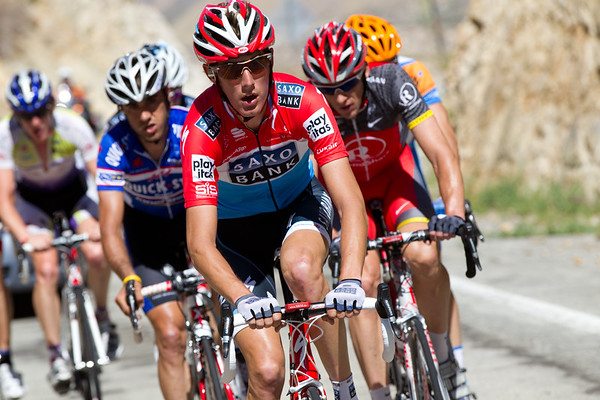 A group of seven are away on the climb, Andy Schleck takes his pull, who else has made the selection?