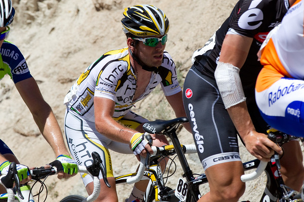 """Back in the peloton, we see birthday boy Mark Cavendish, not sure he wanted this sort of """"gift"""" for his birthday, he'll finish over 27 minutes back in the groupetto."""