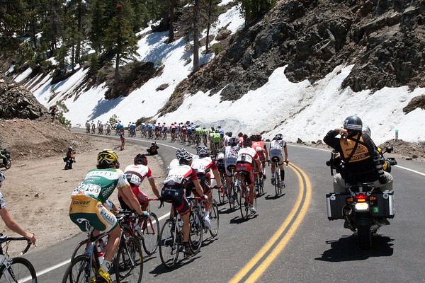 It may be two months later than usual for the Amgen Tour of California, but there is still snow along the climbs