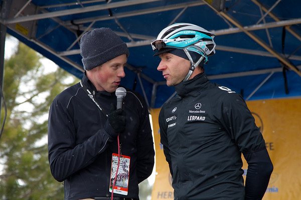 Jens Voigt talks with stage emcee Brad Sohner about the conditions of the stage.