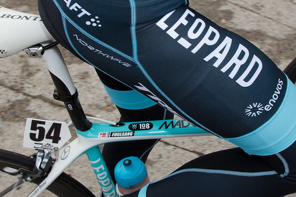 The Leopard TREK riders, along with other teams, have WW 108 stickers on their frames to pay their respects to Wouter Weylandt'd tragic death at the Giro.