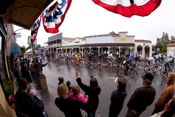 The peloton is cheered as they pass through the town of Ione.