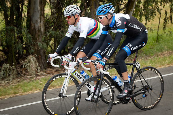 Ryder Hesjedal and Thor Hushovd, perhaps they're discussing strategy for the sprint.