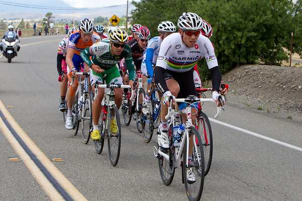 With as quiet as they have been, biding their time, it is not surprising to find Garmin's Hushovd in the break.