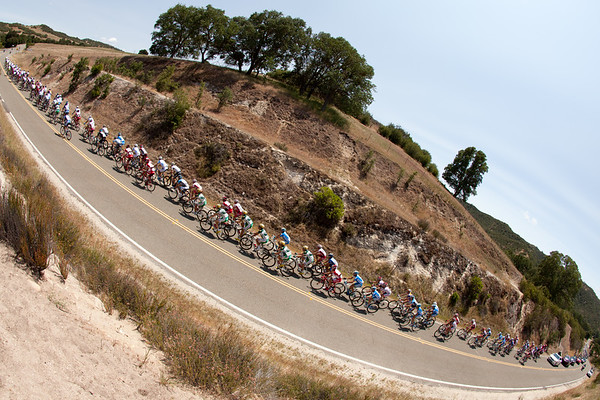 The peloton is strung out in pursuit of the escape...