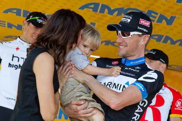 Dave Zabriskie's son Waylon received the kisses for the top step of the podium today.