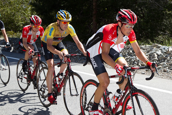 Busche is Horner and Leipheimer's only escort left as they begin the Mount Baldy climb; he lifts the pace yet again!