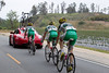 These Kelly Benefits riders find little draft behind the new  Garmin team car...