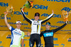 The stage 8 podium, of Goss, Sagan and Henderson.