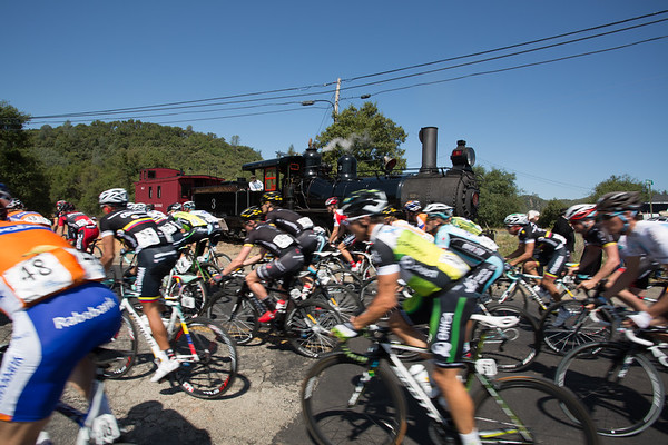 The peloton passes the train used in many productions such as Petticoat Junction and Back to the Future 3.