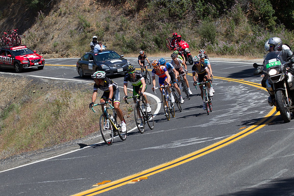 A break of ten has gotten away on the first climb of the day