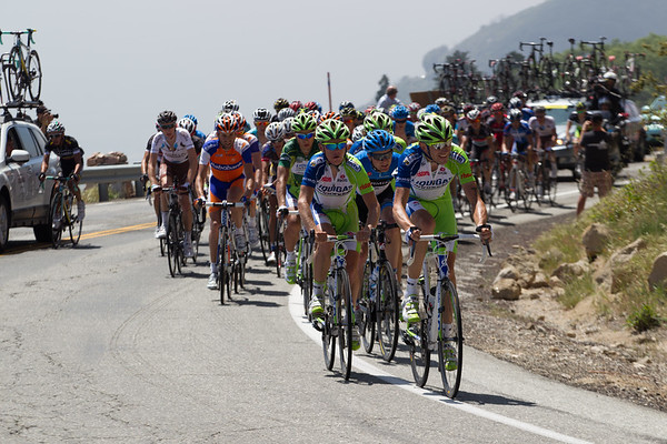 LIquigas has come to the front, the lead is shrinking steadily, down to near 3:50 with 30 km to go... can they catch the escape to get Sagan a chance for a fifth stage in just this year's AToC?