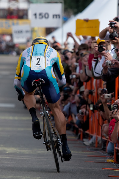 With just over 150 meters to the finish, Lance Armstrong is the center of attention for the fans along the finish stright.