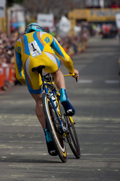 Levi Leipheimer exits the final corner and heads for the finish line and the stage win.