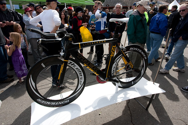The replacement TT bike was on display in the vendor area.