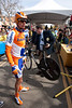 A UCI official finishes weighing a rabobank rider's bike before the stage.