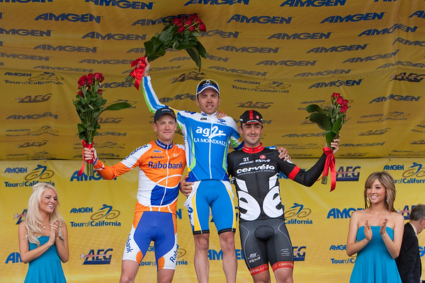 Today's stage 1, 2 and 3. Rinaldo Nocentini (AG2R), Hayden Roulston (Cervelo Test Team), and Robert Weening (Rabobank).