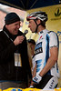 Jens Voigt (Saxo Bank) tells stage announcer Dave Towle his teams (humorous) plans to wrest the yellow jersey from Levi and Team Astana.