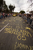 The chalk was a great way to avoid paint on the roads of California this year, but did cause some vision problems coming into the finish cities.