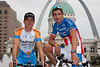 Christian Vande Velde (Garmin-Slipstream) and George Hincapie (Columbia-HTC) pose with the Gateway Arch in the background. George is wearing his new US National Road championship kit.