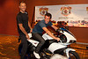 Thor Hushovd (Cervelo Test Team) joins Mark Cavendish (Columbia-HTC) on the Buell 1125r that will be given to the winner of Stage 1 of the Tour of Missouri.
