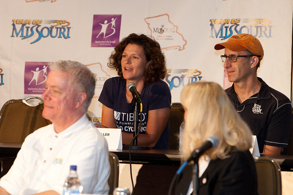 Brooke Miller (TIBCO Pro Cycling) discusses the benefits of having the Gateway Cup women's criterium series the same weekend as the Tour of Missouri kickoff at the pre-race press conference for the Tour of Missouri.