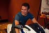 Mark Cavendish (Columbia-HTC) trys the Buell 1125r that will be given to the winner of stage 1 of the Tour of Missouri.