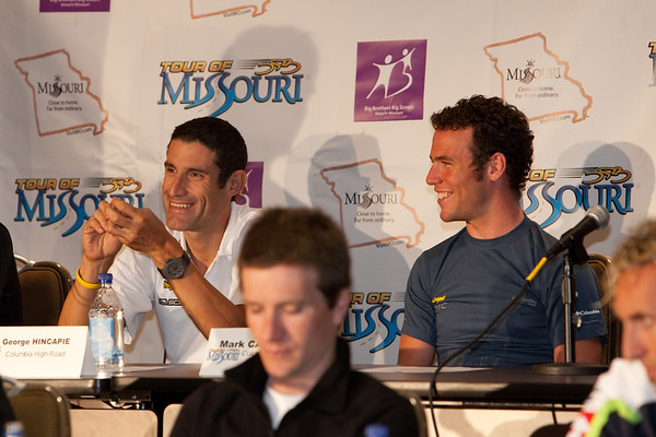 George Hincapie and Mark Cavendish of Columbia-HTC react to comments at the press coference before the start of the Tour of Missouri.