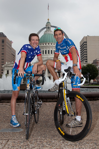 US National Champions: Dave Zebriskie (Garmin-Slipstream) - Time Trial; George Hincapie (Columbia-HTC) - Road; pose in front of the St. Louis arch after a press conference for the Tour of Missouri.