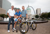 Allan Peiper (Director-Sportif, Columbia-HTC), George Hincapie (Columbia-HTC), and Bob Stapleton (Owner, Highroad Sports) pose in Saint Louis with the Gateway Arch in the background just after the pre-race press conference for the Tour of Missouri in St. Louis, MO.