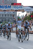 Mark Cavendish wins the slightly uphill sprint easily over JJ Haedo and Thor Hushovd