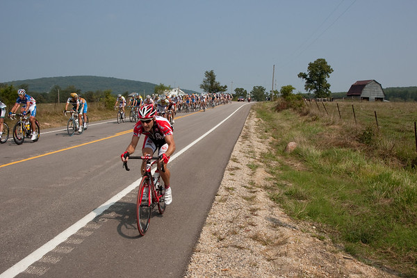 The attacks came early and often today, here a Bissel rider tries a jump up the left...