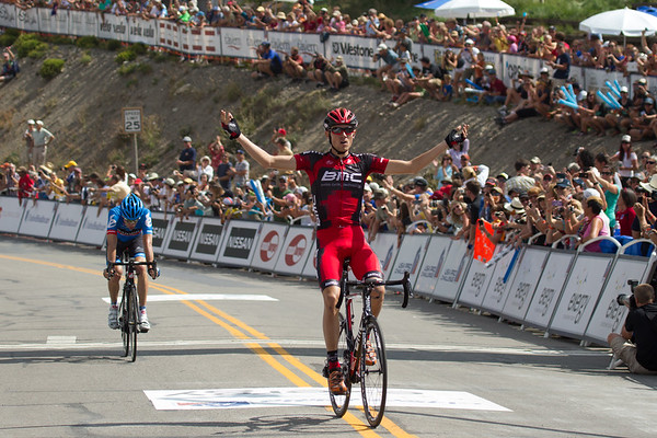 The peloton was caught with 2 k to go, Tejay van Garderen attacks to take the stage and the race lead!