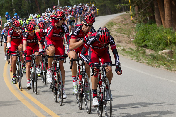 About three minutes behind, BMC fuels up for the day ahead. They mean to defend Tejay's yellow jersey.