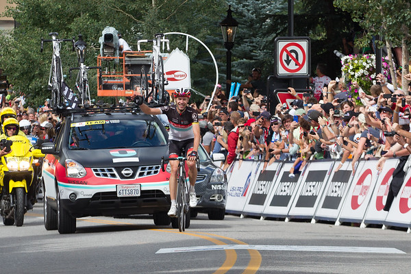 ...he soaks in the cheers of the crowd as he wins the stage.