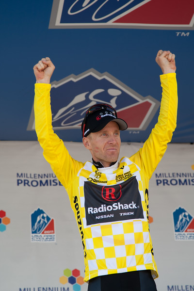 Leipheimer looks confident in yellow after winning stage 1 of the USA Pro Cycling Challenge