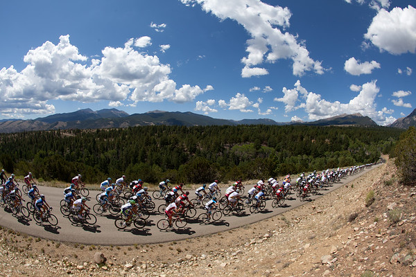 The peloton is content to let them up the road a bit...