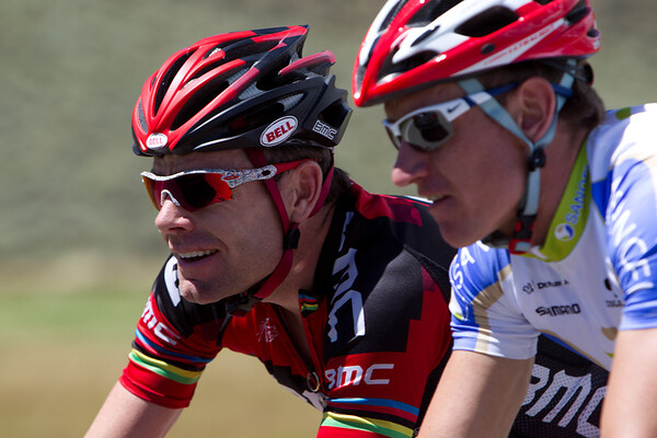Cadel seemed in good spirits after the descent.