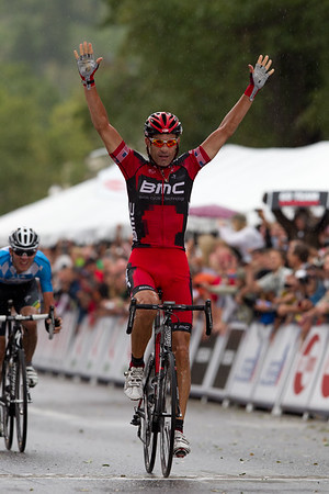 A small group was able to take risks on the rainy descent with Hincapie winning the day ahead of Tejay Van Garderen!