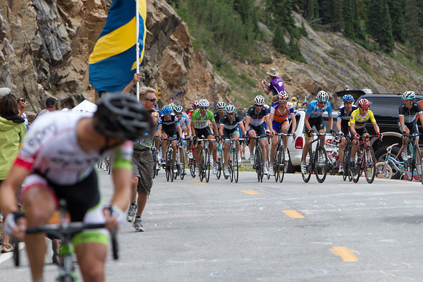 A Columbian, Rafael Infantino of EPM-UNE, has attacked the lead group.