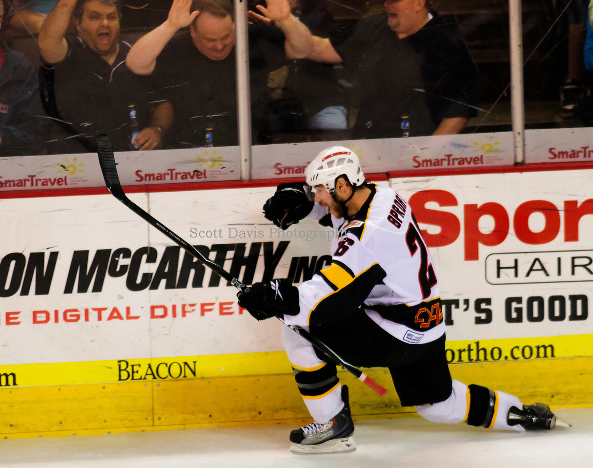 Dustin Sproat(26) celebrates after scoring the first goal. Cincinnati Cyclones Vs Idaho Steelheads ECHL Kelly Cup 5-21-10 @ US Bank Arena