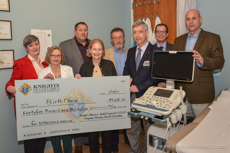 Knights of Columbus Council 12119, raised funds to help Birthchoice, Raleigh purchase an Ultrasound machine. Reception on 1-19-2017